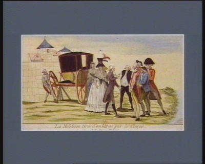 La  Noblesse tirée d'embaras par le clergé ou avanture de la dame Polignac à Sens la dame Polignac, suivie d'une seule femme-de-chambre et d'un abbé, son complaisant, après avoir réduit plus de vingt cheveaux de poste, s'était enfin arrêtée à la ville de Sens pour faire réparer sa malheureuse voiture. Plusieurs personnes les questionent sur les nouvelles du jour... : [estampe]