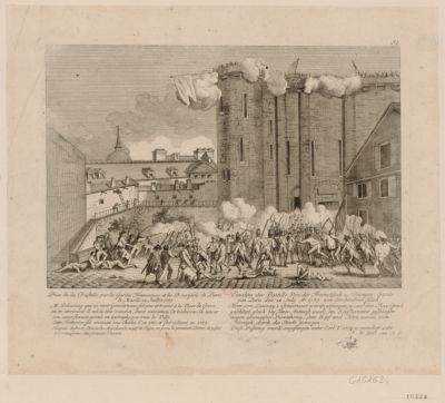Prise de la Bastille par les Gardes Francaises et les Bourgeois de Paris, le Mardi 14 Juillet 1789 [estampe]