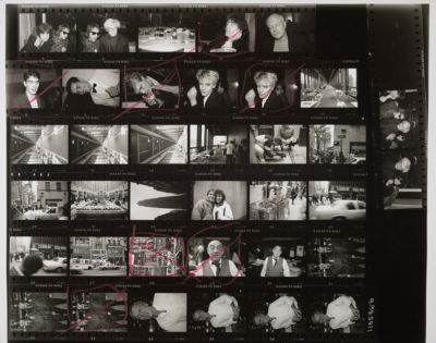 [Stephen Saban, Beauregard Houston Montgomery, Andy Warhol, Michael Musto, Sam Bolton, and Nick Rhodes of Duran Duran at a restaurant; New York street scenes around Rockefeller Center; Jeweler Boris Tinter; Man in white shirt]
