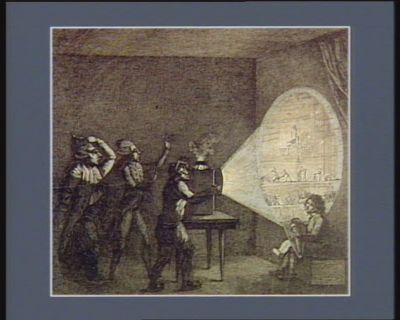 Lanterne magique republicaine montrée à sire Georges Dandin et à monsieur Pitt son féald ministre un bon sans culottes montre la lanterne magique au gros Georges Dandin et à son piteux ministre ; il leur fait voir dans le disque lumineux tout ce qui se passe en France... : [estampe]