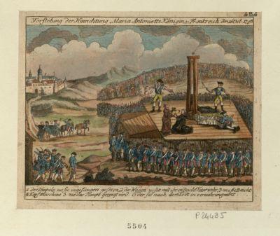 Vorstelung der Hinrichtung Maria Antoniette Köningin V. Frankreich den Oct. <em>1793</em> der Tempele wo sie in gefängen geferen, 2 der Wagen wosie mit ihr en Beicht Vater wahr : [estampe]