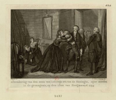 Afzondering van den zoon van Lodewijk <em>XVI</em> van de Koningin, zijne moeder, in de gevangenis [estampe]