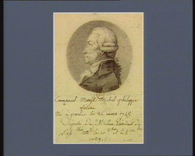 Emmanuel Marye Michel Philippe Fréteau né à <em>Paris</em> le 26 mars 1749, député de Melun, président de l'Ass.blée na.ti.le 10 8.bre et le 3 X.bre 1789 : [dessin]