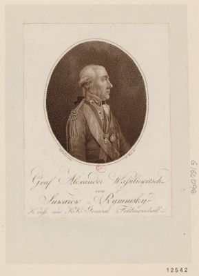 Graf Alexander Wassiiewitsch von Suwarow Rymnisky <em>K</em>. russ. und <em>K</em>. <em>K</em>. General Feldmarschall : [estampe]