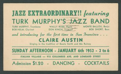 Turk Murphy Jazz Band with Claire Austin Jan. 6, 1952
