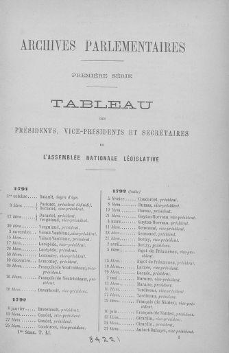 Tome 51 : Table générale alphabétique de l'Assemblée nationale Législative - page 1