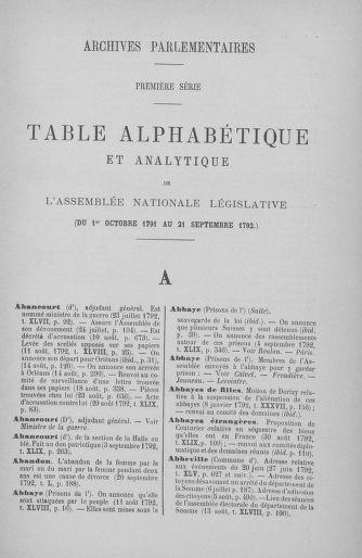 Tome 51 : Table générale alphabétique de l'Assemblée nationale Législative - page 3