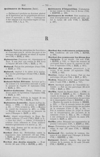 Tome 51 : Table générale alphabétique de l'Assemblée nationale Législative - page 715