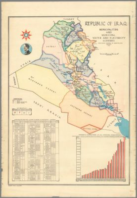 illustrated map of iraq for development projects 1956