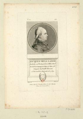 Jacques de La Lande bachelier en théologie, curé d'Illiers l'Evêqu, né à la Forêt Auvray prés Falaise le 6 mars 1733 député du bail.ge d'Evreux à l'Assemblée nationale de 1789 : [estampe]