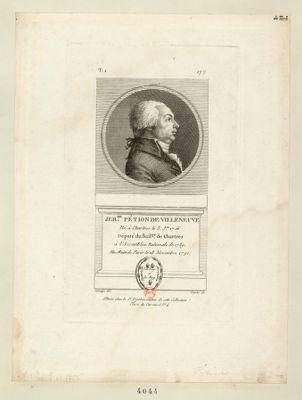 Jer.me Pétion de Villeneuve né à Chartres le 3 j.er 1756 député du bail. ge de Chartres à l'Assemblée nationale de 1789. Elu maire de Paris le 18 novembre 1791 : [estampe]