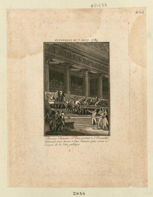 Événement du 7 sept. 1789 plusieurs citoyennes de Paris, portant à l'Assemblée nationale leurs bijoux et leurs diamans, pour servir à l'acquit de la dette publique : [estampe]