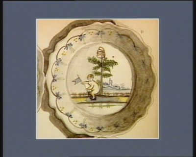 [Assiette décorée d'un arbre de la liberté] [dessin]
