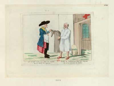 Mr le Juif voulez vous faire une emplette de cet habit de capucin gardez le reverend pour faire une brayette car il ne vaut pas un carlin : [estampe]
