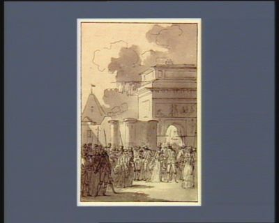 [Maquette de la Bastille transportée solennellement au milieu de la foule] [dessin]