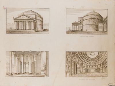 Prospetto del Pantheon. Fianco del Pantheon. Portico del Pantheon. Interno del Pantheon