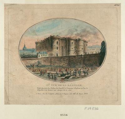 IIe vue de la Bastille prise derriére les fossez du fauxbrg St Antoine à l'instant où l'on se disposoit à en former une attaque de ce côté : [estampe]