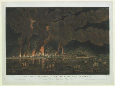 Vue de l'incendie de la ville du Cap Français, arrivée le 21 juin 1793 vieux style [estampe]