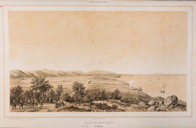 Santa Severa, veduta generale con sbarco delle truppe francesi
