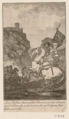 Der  Pallast dieses guten Fürsten war das Louvre und Coblenz die erste Caserne de geheiligten Heer fahne geworden [estampe]