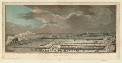 Vue du <em>Champ</em> <em>de</em> <em>Mars</em>, à l'instant où le Roi, les députés à l'Assemblée nationale & les fédérés réunis, y prononcent le serment civique, le 14 j.et 1790 [estampe]