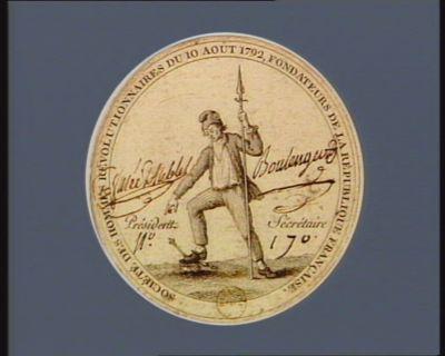 Société des hommes révolutionnaires du 10 aout 1792, fondateurs de la République française [estampe]