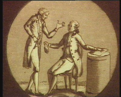 [Louis seize jurant d'une main sur la Constitution de 1791 pendant qu'il reçoit, de l'autre, une bourse bien remplie] [estampe]