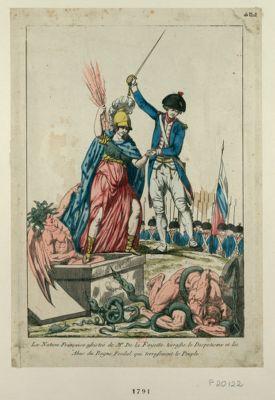 La  Nation française assistée de Mr de la Fayette terrasse le despotisme et les abus du regne feodal qui terrassaient le peuple [estampe]