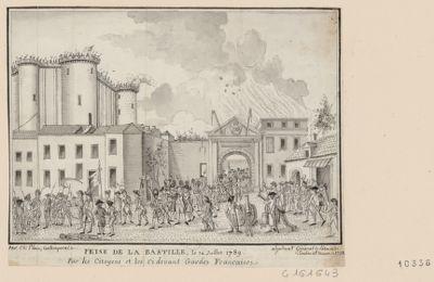 Prise de la Bastille le 14 juillet 1789 par les citoyens et les Ci devant Gardes Francaises [dessin]