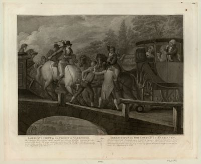 Louis XVI stopt in his <em>flight</em> at <em>Varennes</em> <em>The</em> inhabitants being informed who <em>the</em> travellers were... : [estampe]