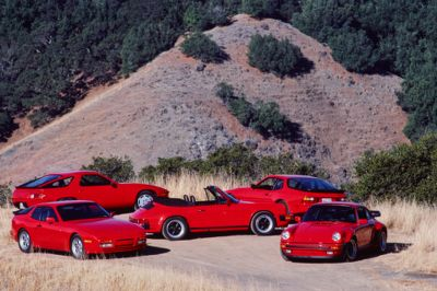 Porsche - Five part harmony, Road & Track January 1986. Comparison test among Porsche 911 Turbo, 911 Cabriolet, 928S, 944, and 944 Turbo