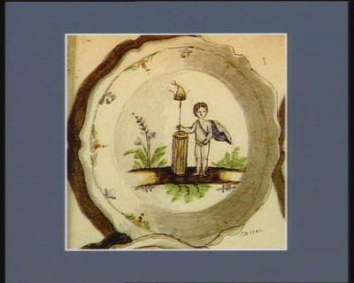 [Assiette décorée d'une figure <em>allégorique</em> et de <em>symboles</em> révolutionnaires] [dessin]