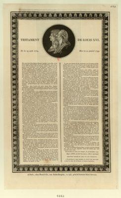 Testament de Louis XVI , né le 23 août 1754, mort le 21 janvier <em>1793</em> [estampe]