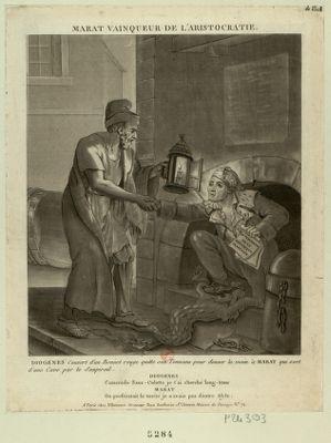 Marat vainqueur de l'aristocratie Diogenes couvert d'un bonnet rouge quitte son tonneau pour donner la main <em>à</em> Marat qui sort d'une cave par le soupirail... : [estampe]