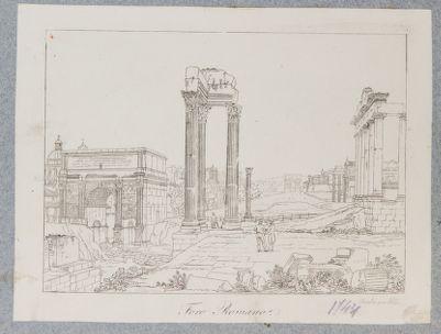 Tempio Vespasiano con veduta del Foro verso sud