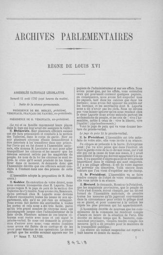 Tome 48 : Du 11 août au 25 août 1792 - page ..