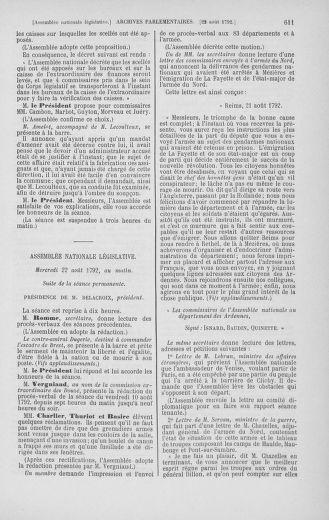 Tome 48 : Du 11 août au 25 août 1792 - page 611