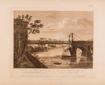 Ponte Rotto, veduta di una parte del ponte riaperto al transito mediante l'aggiunta di un'altra parte pensile in ferro