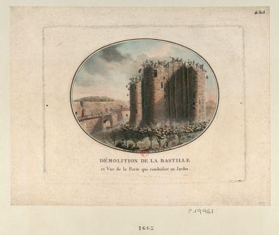 Démolition de la Bastille et vue de la porte qui conduisoit au jardin : [estampe]