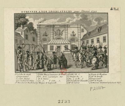 Etrennes à nos legislateurs pour l'année 1792 1 le roi de suede 2 Désprémenil 3 Conte Dartois : [estampe]