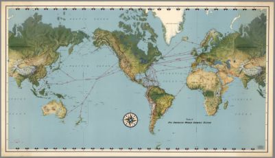 Air World Map By American Airlines Inc Copyright 1944 By American