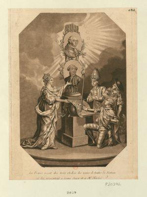La  <em>France</em> reçoit des trois Ordres les voeux de toutes la Nation et les présentent à Louis Seize et à Mr Necker [estampe]