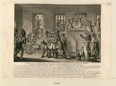 Séance du Conseil des Cinq-Cents tenue a St Cloud le 19 brumaire an huit les braves grenadiers du corps legislatif en sauvant Buonaparte ont sauvé la France... : [estampe]