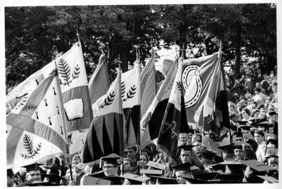 Commencement-President Sterling-University flags