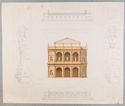 Tordinona. Teatro Apollo, pianta, prospetto e piazza