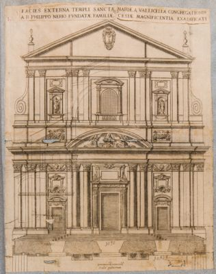 Chiesa di S. Maria in Vallicella. Facciata, prospetto architettonico