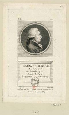 Alex. N.as Le Moine né à Paris le 23 octobre 1736 député de Paris à l'Assemblée nationale de 1789 : [estampe]
