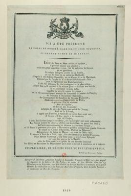 Ici a été présenté le corps de Honoré Gabriel Victor Riquetti, ci-devant comte de Mirabeau issu de pere et mere nobles et opulens... : [estampe]