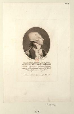 Marie, Paul, Joseph, Roch, Yves, Gilbert de Mottier de La Fayette député d'Auvergne à l'Assemblée nationale en 1789 : elu commandent général de la Garde nationale parisienne le 15 juillet : [estampe]