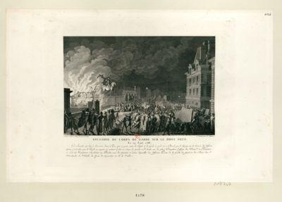 Incendie du corps de garde sur le Pont Neuf, le 29 aout 1788 cet incendie eut lieu à l'occasion d'une rixe qui se passa entre le peuple et le guet à pied et à cheval... : [estampe]